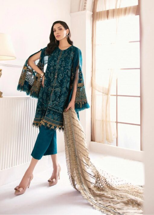Chantelle By Baroque Embroidered Chiffon Unstitched 3 Piece Suit 05 Sparkling Night – Wedding Collection