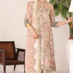 Chantelle By Baroque Embroidered Net Unstitched 3 Piece Suit 06 Fall Light - Wedding Collection