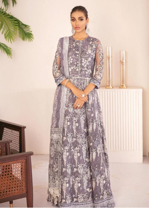 Chantelle By Baroque Embroidered Net Unstitched 3 Piece Suit 07 Chalcedony – Wedding Collection