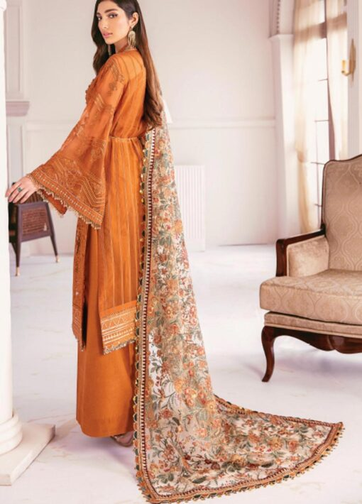 Chantelle By Baroque Embroidered Chiffon Unstitched 3 Piece Suit 08 Crystal Sugar – Wedding Collection
