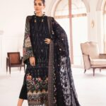 Chantelle By Baroque Embroidered Chiffon Unstitched 3 Piece Suit 09 Garnet - Wedding Collection