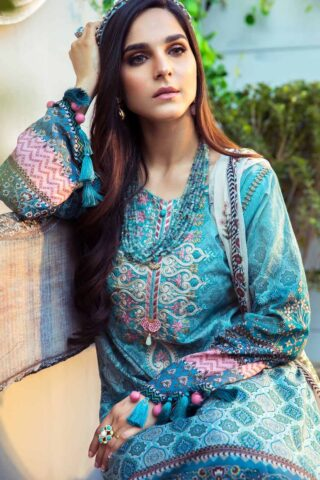 Mprints by Maria B Printed Lawn Unstitched 3 Piece Suit 01 A – Summer Collection