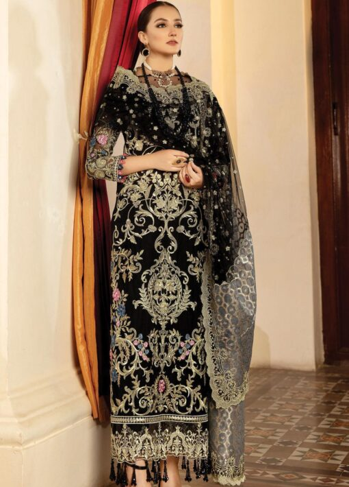 Regence by Imrozia Embroidered Net Unstitched 3 Piece Suit I-122 BLACK ROYAUTE – Wedding Collection