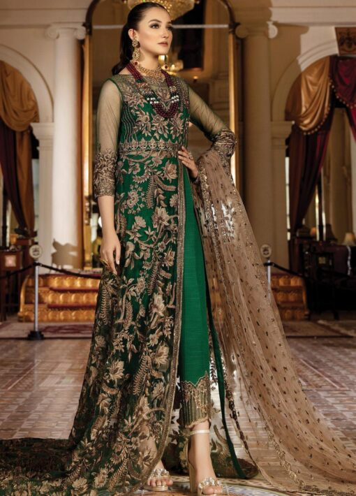 Regence by Imrozia Embroidered Net Unstitched 3 Piece Suit I-124 EMERAUDE – Wedding Collection