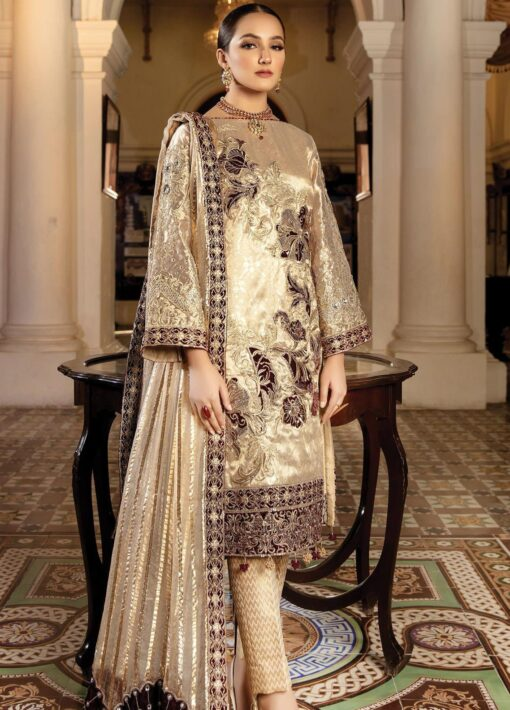 Regence by Imrozia Embroidered Tissue Unstitched 3 Piece Suit I-128 IVORY AMOUR – Wedding Collection