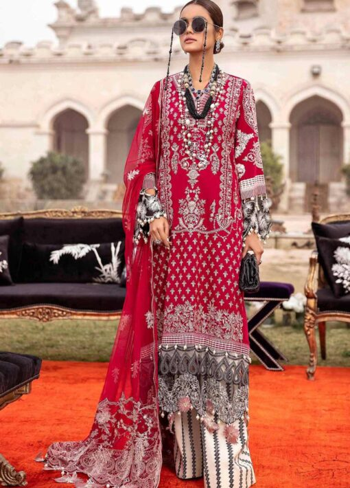 Sana Safinaz Embroidered Dobby Unstitched 3 Piece Suit 09-A – Summer Collection