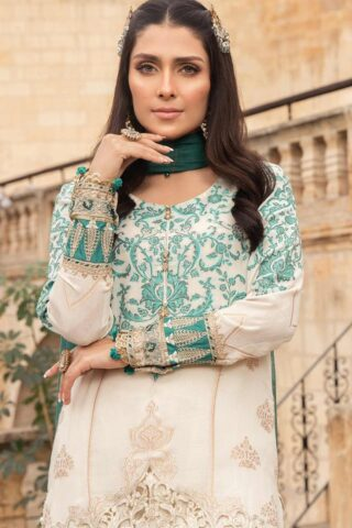 Maria B Embroidered Jacquard Unstitched 3 Piece Suit 03 A – Summer Collection