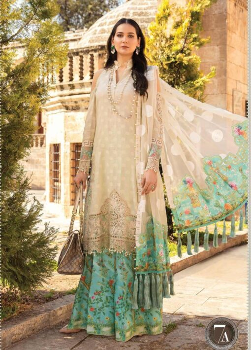Maria B Embroidered Lawn Unstitched 3 Piece Suit 07 A – Summer Collection