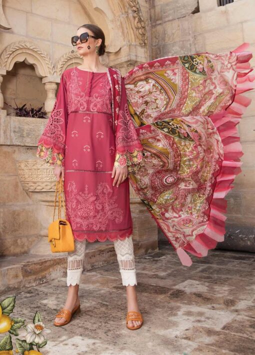 Maria B Embroidered Lawn Unstitched 3 Piece Suit 08 B – Summer Collection
