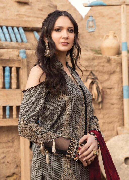 Maria B Embroidered Jacquard Unstitched 3 Piece Suit 14 A – Summer Collection