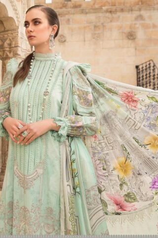 Maria B Embroidered Lawn Unstitched 3 Piece Suit 015 A – Summer Collection
