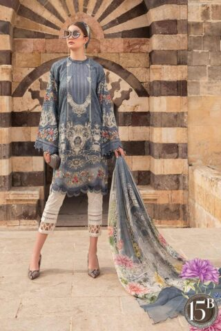 Maria B Embroidered Lawn Unstitched 3 Piece Suit 015 B – Summer Collection