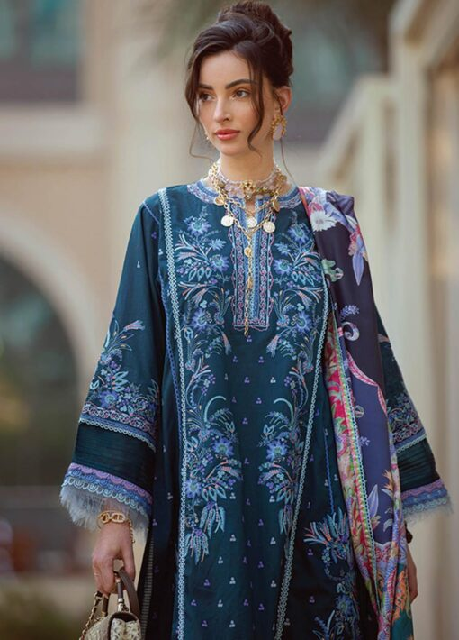 Nera by Farah Talib Aziz Embroidered Lawn Unstitched 3 Piece Suit 11 Kaia Teal – Summer Collection