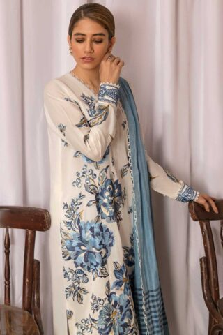 Zaha by Khadijah Shah Embroidered Lawn Unstitched 3 Piece Suit 04-A – Summer Collection