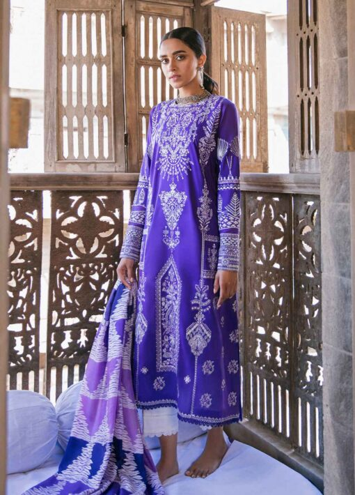 Zaha by Khadijah Shah Embroidered Lawn Unstitched 3 Piece Suit 05-A – Summer Collection