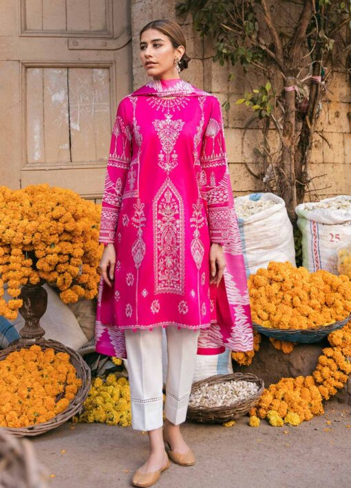 Zaha by Khadijah Shah Embroidered Lawn Unstitched 3 Piece Suit 05-B – Summer Collection