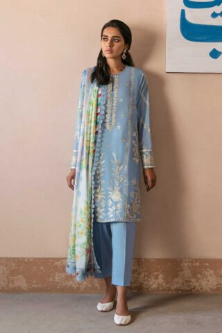 Zaha by Khadijah Shah Embroidered Lawn Unstitched 3 Piece Suit 07-A – Summer Collection