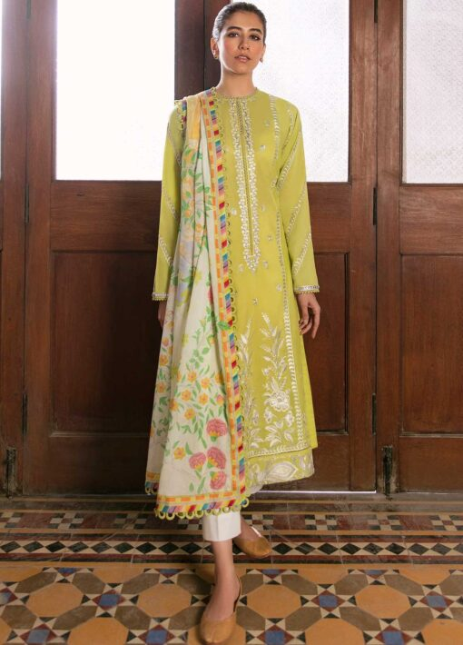 Zaha by Khadijah Shah Embroidered Lawn Unstitched 3 Piece Suit 07-B – Summer Collection