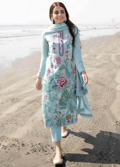 Zaha by Khadijah Shah Embroidered Lawn Unstitched 3 Piece Suit 09-A – Summer Collection