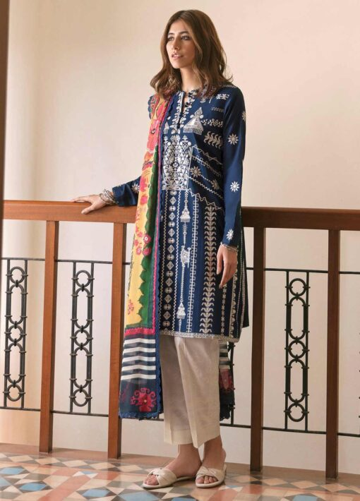 Zaha by Khadijah Shah Embroidered Lawn Unstitched 3 Piece Suit 10-A – Summer Collection
