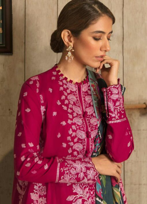 Zaha by Khadijah Shah Embroidered Lawn Unstitched 3 Piece Suit 12-A – Summer Collection