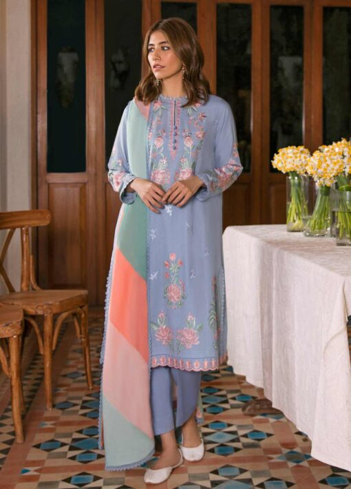 Zaha by Khadijah Shah Embroidered Lawn Unstitched 3 Piece Suit 13-A – Summer Collection