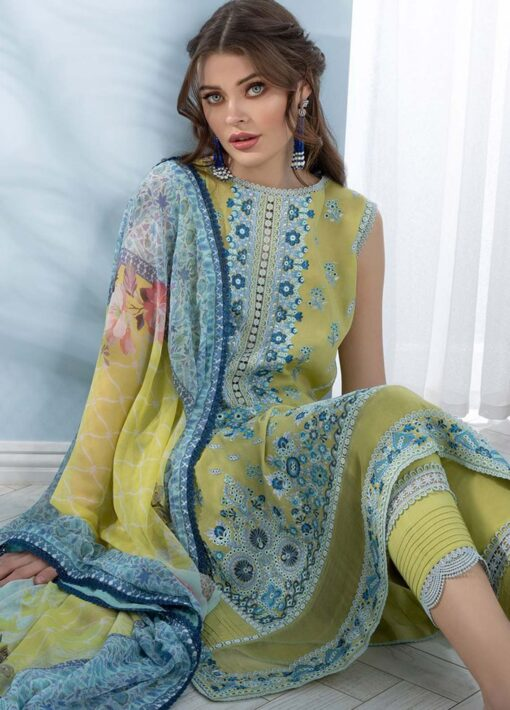 Sobia Nazir Embroidered Luxury Lawn Unstitched 3 Piece Suit 05A – Summer Collection
