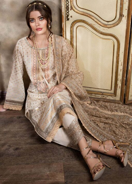 Sobia Nazir Embroidered Luxury Jacquard Unstitched 3 Piece Suit 08A – Summer Collection
