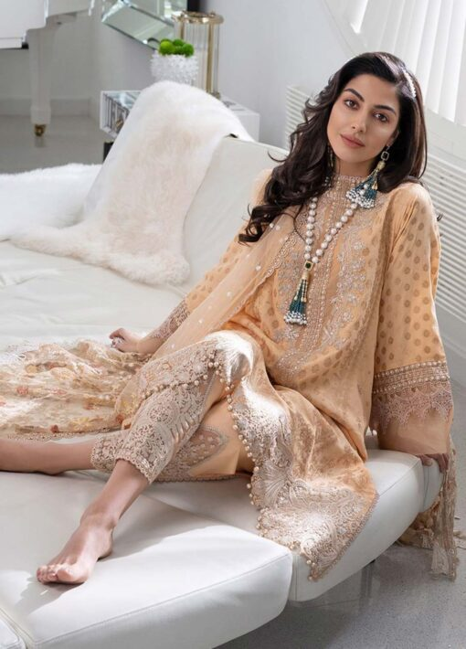 Sobia Nazir Embroidered Luxury Jacquard Unstitched 3 Piece Suit 14A – Summer Collection