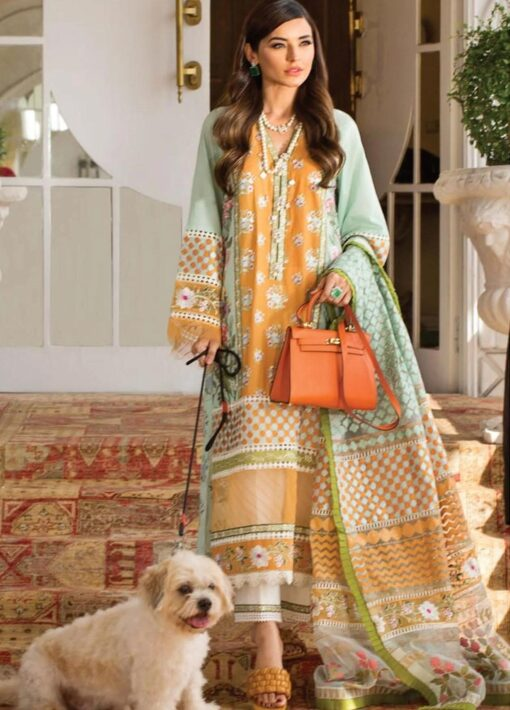 Crimson by Saira Shakira Embroidered Lawn Unstitched 3 Piece Suit 9A MANDARIN – Luxury Collection
