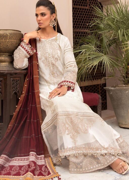 Maria B Embroidered Eid Lawn Unstitched 3 Piece Suit D-01 – Festive Collection