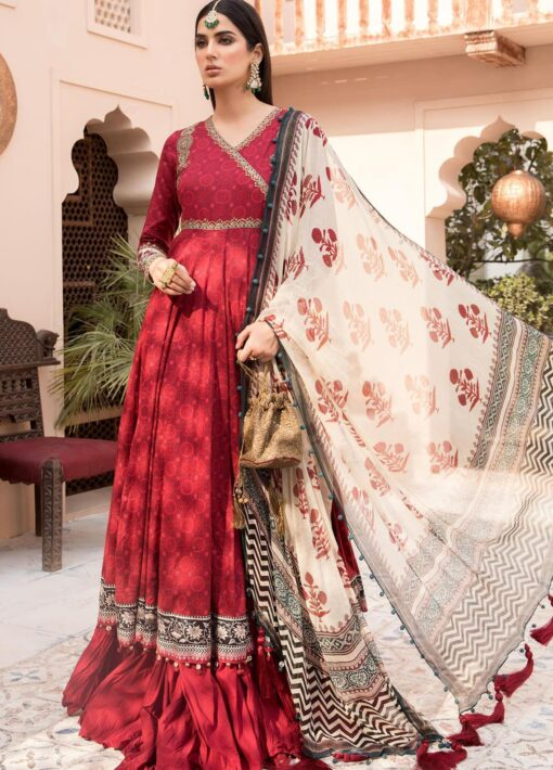 Maria B Embroidered Eid Lawn Unstitched 3 Piece Suit D-03 – Festive Collection