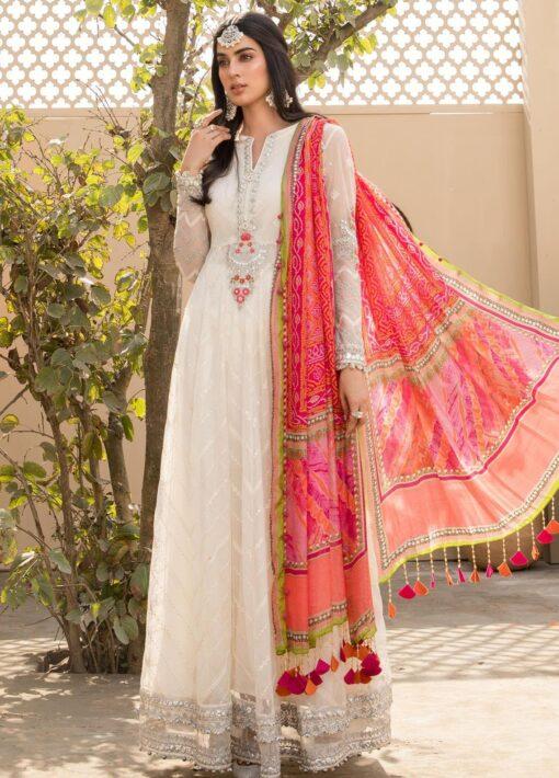 Maria B Embroidered Eid Net Unstitched 3 Piece Suit D-08 – Festive Collection