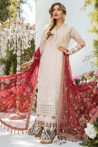 Maria B Mbroidered Organza Unstitched 3 Piece Suit 2021 BD 2103 Off White and Deep Red – Eid Collection