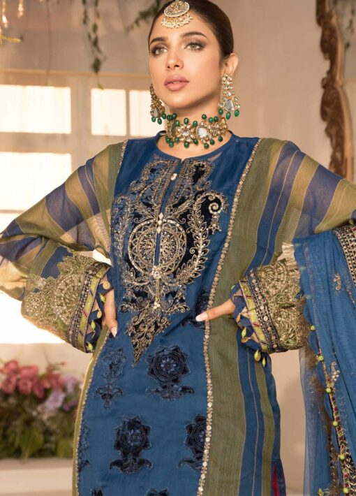 Maria B Mbroidered Organza Unstitched 3 Piece Suit 2021 BD 2104 Blue Olive green with deep Coral Pink – Eid Collection