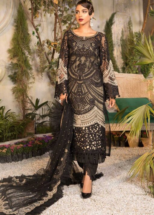 Maria B Mbroidered Organza Unstitched 3 Piece Suit 2021 BD 2106 Black and Coffee – Eid Collection