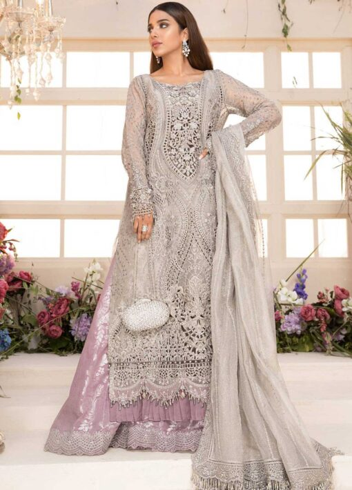 Maria B Mbroidered Organza Unstitched 3 Piece Suit 2021 BD 2108 Grey and Lilac – Eid Collection