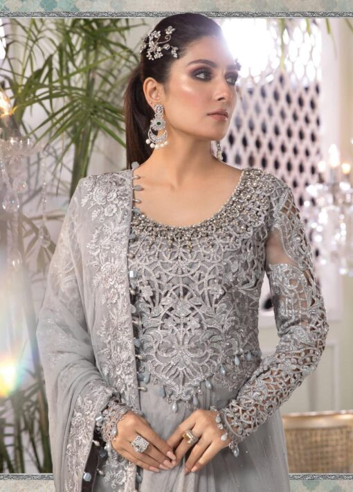 Maria B Embroidered Net Unstitched Saree 2021 D 01 Silver Grey – Luxury Collection