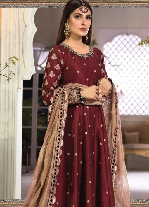 Maria B Embroidered Raw Silk Unstitched 3 Piece Suit 2021 D 04 – Luxury Collection