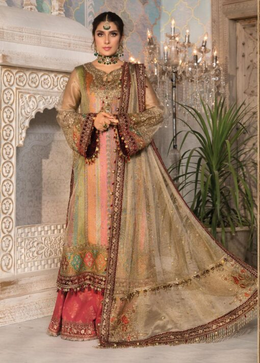 Maria B Embroidered Zari Net Unstitched 3 Piece Suit 2021 D 07 – Luxury Collection