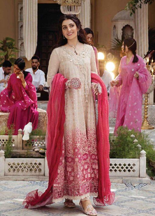 Mushq Chikankari Cotton Net Unstitched 3 Piece Suit 2021 01 MIHR- Festive Collection