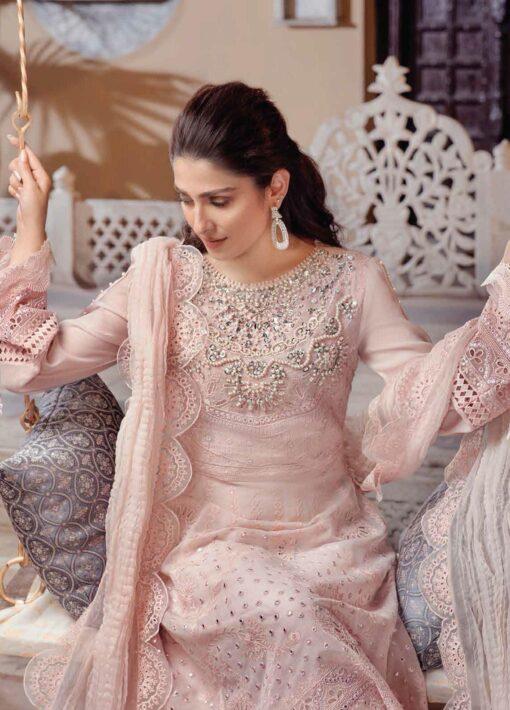 Mushq Chikankari Cotton Net Unstitched 3 Piece Suit 2021 07 NISSA – Festive Collection