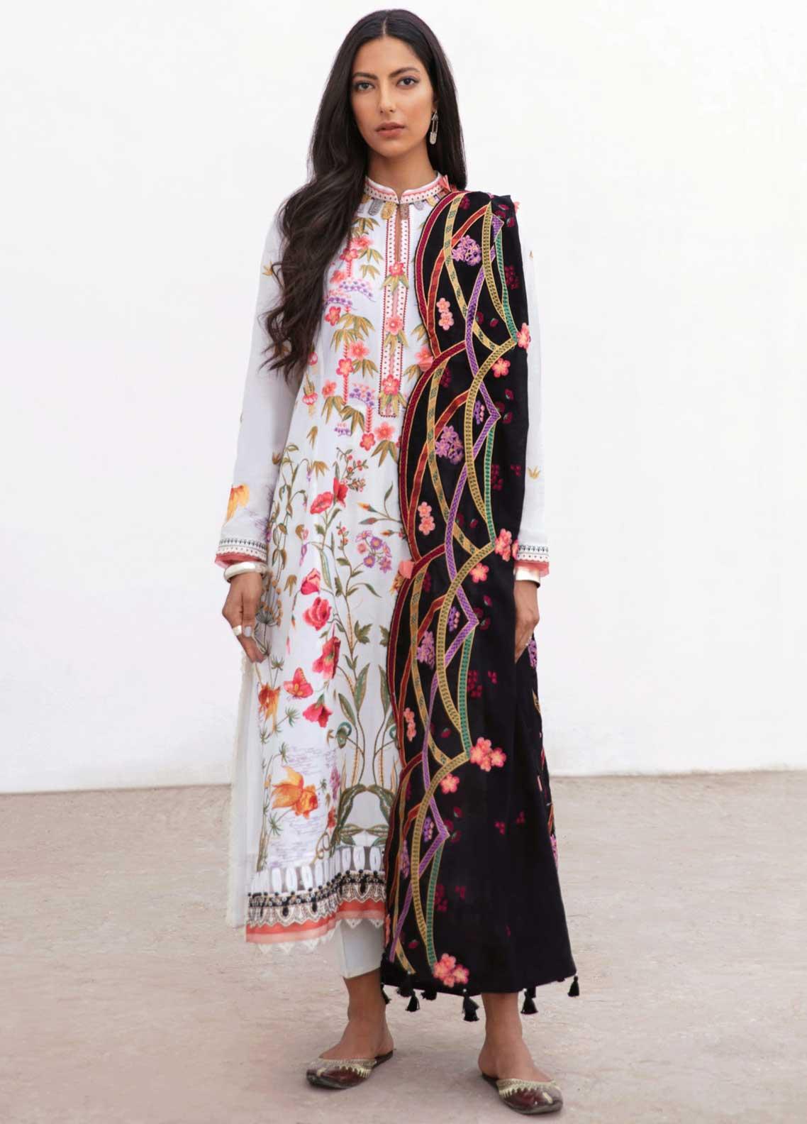Zaha Festive Embroidered Lawn Suit Unstitched 3 Piece 2021 05 MASHAEL – Festive Collection