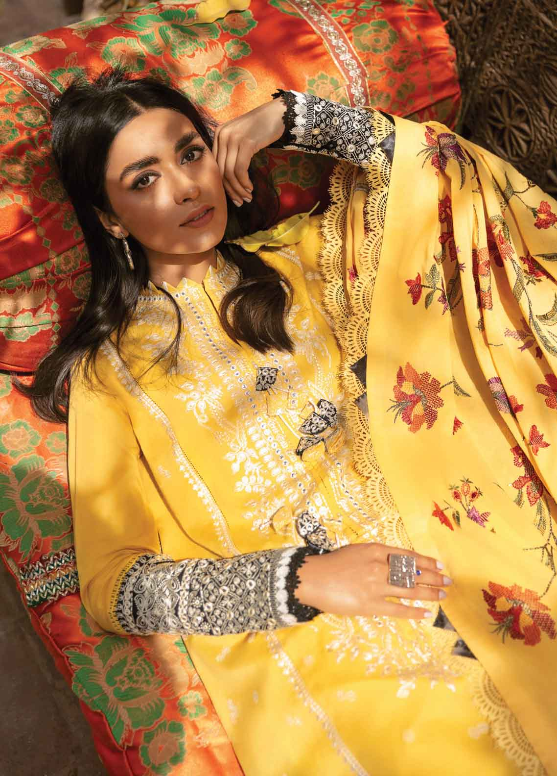 Zaha Festive Embroidered Lawn Suit Unstitched 3 Piece 2021 08 ASALI – Festive Collection
