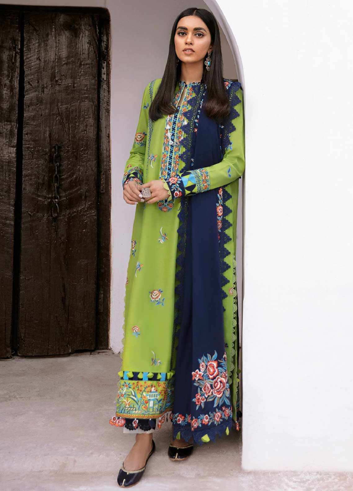 Zaha Festive Embroidered Lawn Suit Unstitched 3 Piece 2021 10 GULSAN – Festive Collection