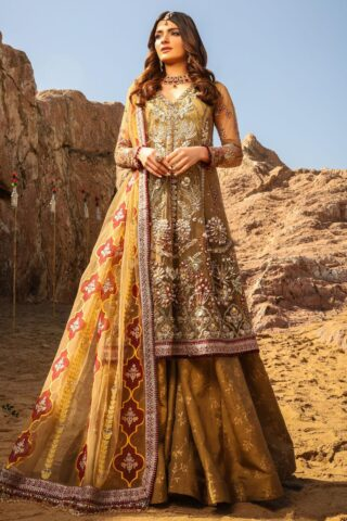 Alif by AJR Couture Embroidered Chiffon Unstitched 3 Piece Suit 01 – Wedding Collection