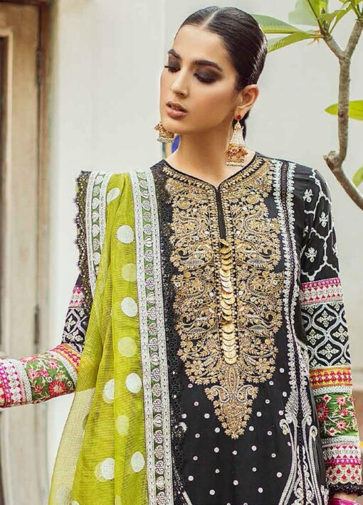 Maryam Hussain Embroidered Lawn Suit Unstitched 3 Piece 2021 01 Naghma – Festive Collection