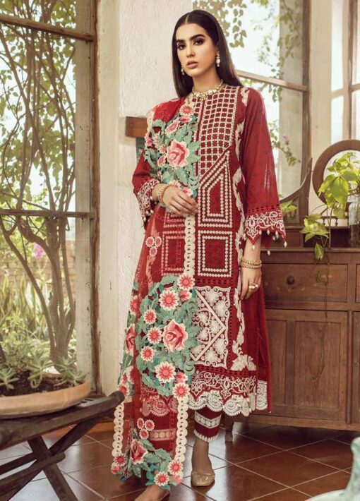 Maryam Hussain Embroidered Lawn Suit Unstitched 3 Piece 2021 02 Khushbu – Festive Collection