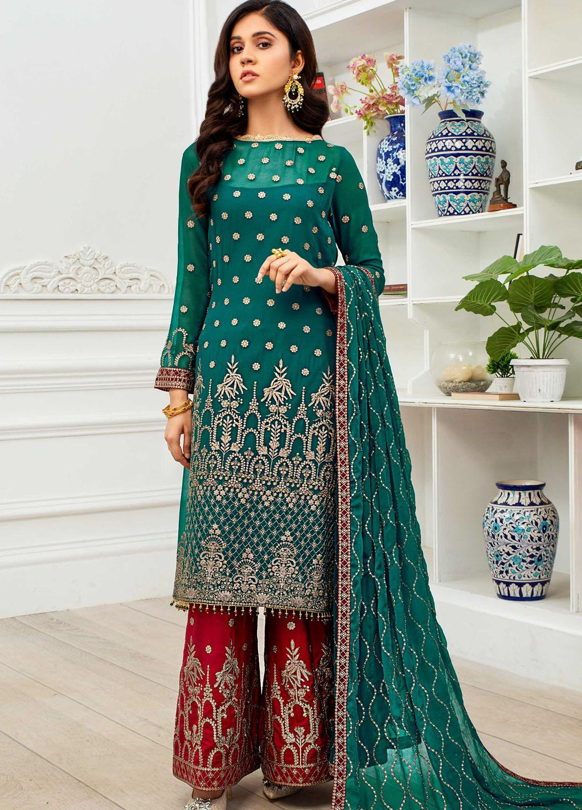 Dastoor by Zarif Embroidered Chiffon Suit Unstitched 3 Piece 10 – Luxury Collection
