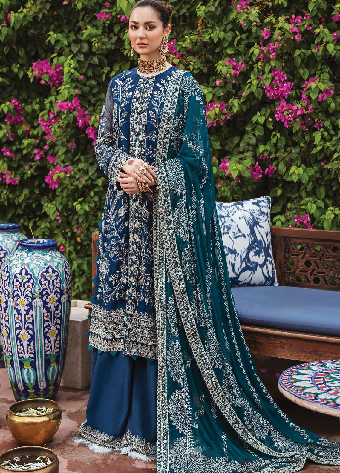 Shehnai by Afrozeh Embroidered Chiffon Suit Unstitched 3 Piece 08 LAAJWARDI – Wedding Collection